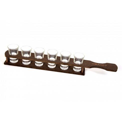 Fa pálinka kínáló, üveg poharakkal