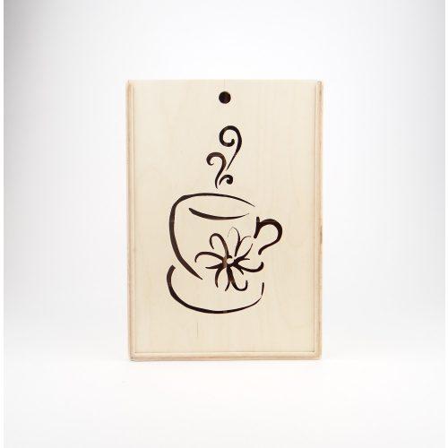 Teás doboz, csésze előlappal