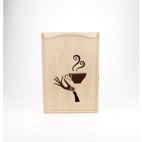 Teás doboz, kéz alakú előlappal